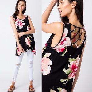 🔖Last!Crisscross Back Floral Sleeveless Tunic Top